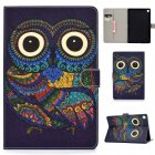 For Samsung T720/T725 Laptop Protective Cover Cartoon Color Painted Smart Stay PU Cover with Front Snap owl
