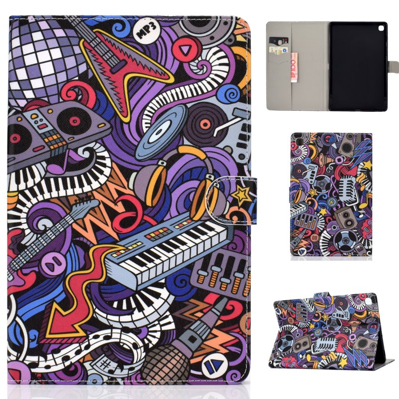 For Samsung T720/T725 Laptop Protective Cover Cartoon Color Painted Smart Stay PU Cover with Front Snap Graffiti