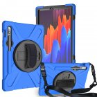 For Samsung Tab S7 T870 /Tab S7 Plus T970/T975 Protective Cover with Pen Slot Anti-fall Belt Holder + Wristband + Straps blue_Samsung Tab S7 T870 (2020)