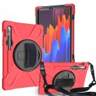 For Samsung Tab S7 T870 /Tab S7 Plus T970/T975 Protective Cover with Pen Slot Anti-fall Belt Holder + Wristband + Straps red_Samsung Tab S7 T870 (2020)