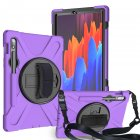 For Samsung Tab S7 T870 /Tab S7 Plus T970/T975 Protective Cover with Pen Slot Anti-fall Belt Holder + Wristband + Straps purple_Samsung Tab S7 T870 (2020)