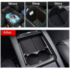 For Tesla Model S/Model X Center Console Organizer Armrest Storage Box with Cup Holder