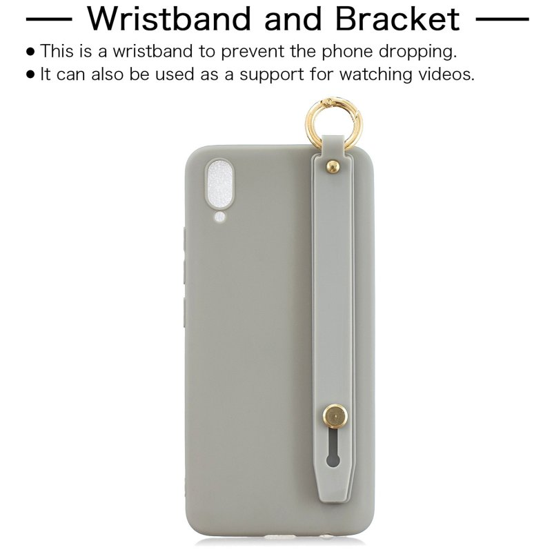 For VIVO V11 Simple Solid Color Chic Wrist Rope Bracket Matte TPU Anti-scratch Non-slip Protective Cover Back Case 12 gray