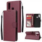 For VIVO Y17 Cellphone Cover PU Leather Shell All-round Protection Mobile Phone Case Precise Cutout Wallet Design Stand Function Wine red