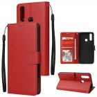 For VIVO Y17 Cellphone Cover PU Leather Shell All-round Protection Mobile Phone Case Precise Cutout Wallet Design Stand Function Red