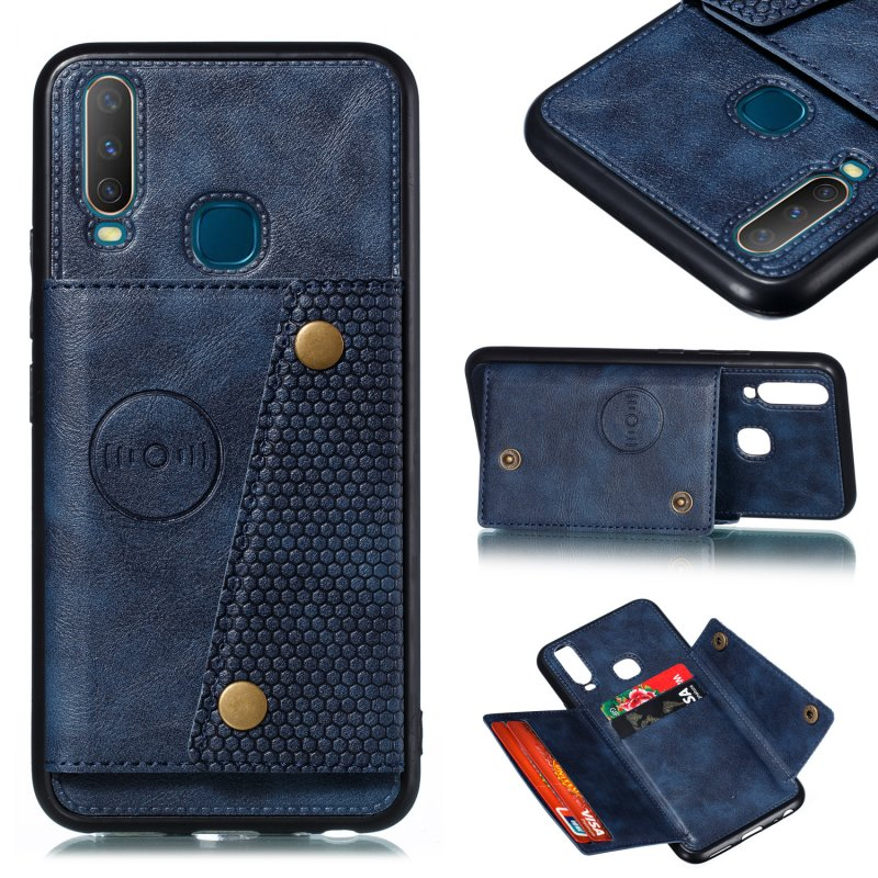 For VIVO Y17 Shockproof Double Buckle Wallet Case Cell Phone Case PU Leather Flip Stand Phone Cover With Card Slots blue