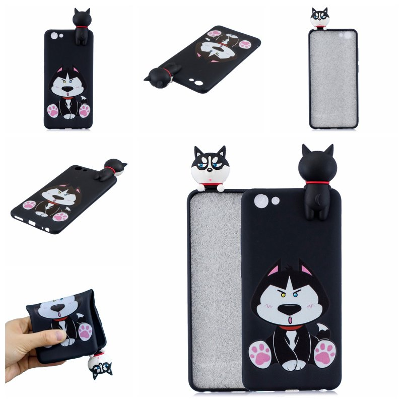For VIVO Y71 3D Cute Coloured Painted Animal TPU Anti-scratch Non-slip Protective Cover Back Case cute husky