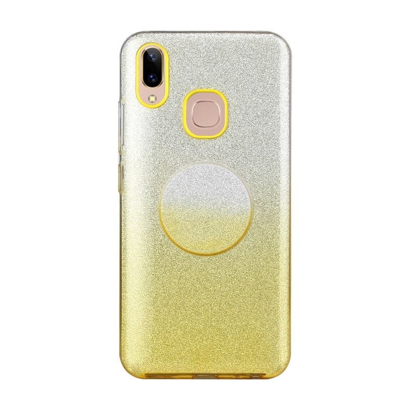 For VIVO Y91/Y93/Y95 with hole/V17/S1 Pro/Y95 Phone Case Gradient Color Glitter Powder Phone Cover with Airbag Bracket yellow