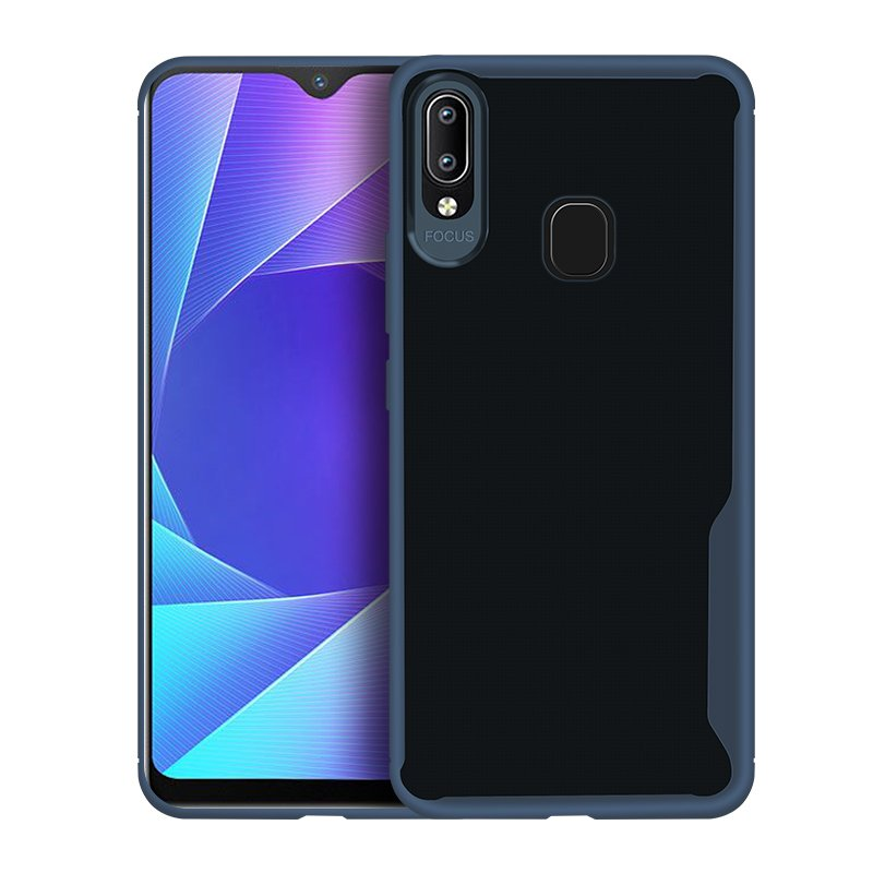 For VIVO Y95 /Y91 with fingerprint hole Ultra Slim Translucent Non-slip Shockproof TPU Back Cover  Transparent Blue