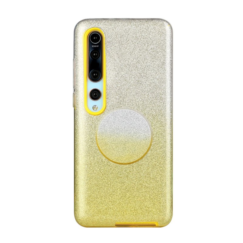 For XIAOMI CC9E/A3/10/10 PRO/K20/K20 pro Phone Case Gradient Color Glitter Powder Phone Cover with Airbag Bracket yellow