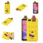 For XIAOMI Redmi 6A 3D Cartoon Lovely Coloured Painted Soft TPU Back Cover Non-slip Shockproof Full Protective Case yellow