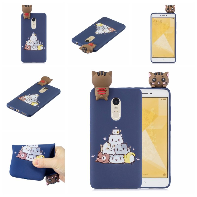 For XIAOMI Redmi NOTE 4X/NOTE 4 3D Cute Coloured Painted Animal TPU Anti-scratch Non-slip Protective Cover Back Case sapphire