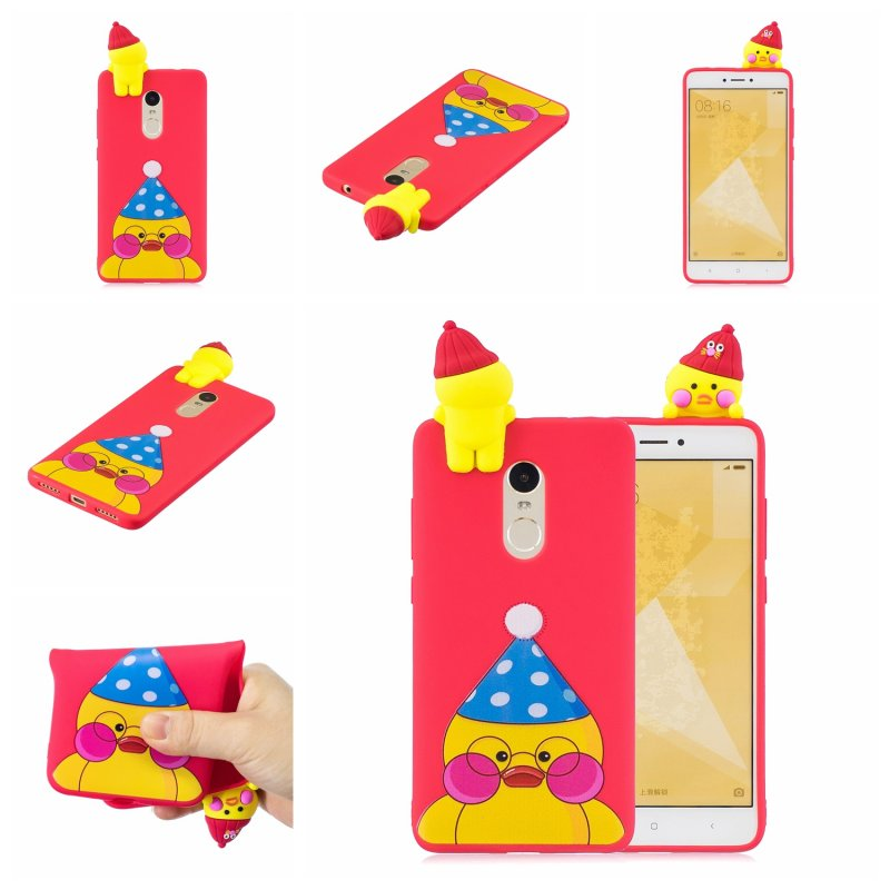 For XIAOMI Redmi NOTE 4X/NOTE 4 3D Cute Coloured Painted Animal TPU Anti-scratch Non-slip Protective Cover Back Case red