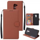 For Xiaomi Pocophone F1 Flip-type Leather Protective Phone Case with 3 Card Position Buckle Design Phone Cover  brown