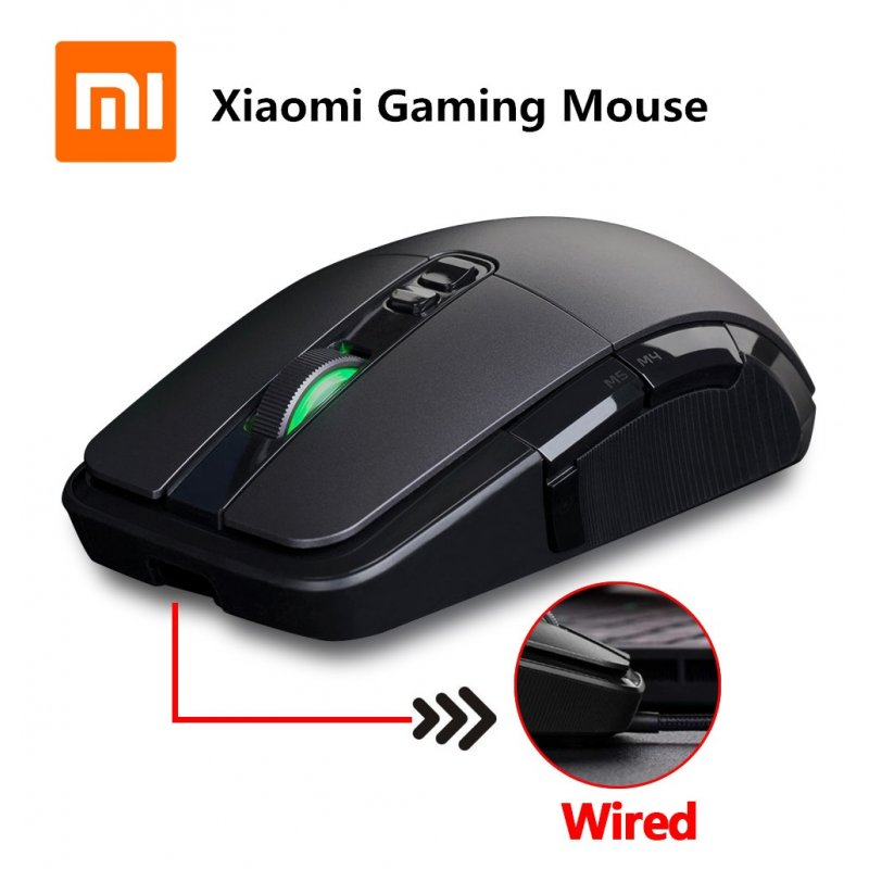 For Xiaomi Wireless Mouse Gaming USB 2.4GHz 7200DPI RGB Backlight Mouse for Laptop black