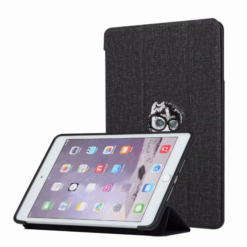For iPAD Mini 12345/Pro/Air123 Tablet Cover 9.7-inch 10.5-inch Cover Embroidery Case Overal Protection Shell Anti-Fall Stand Function  black_For ipad mini123/45