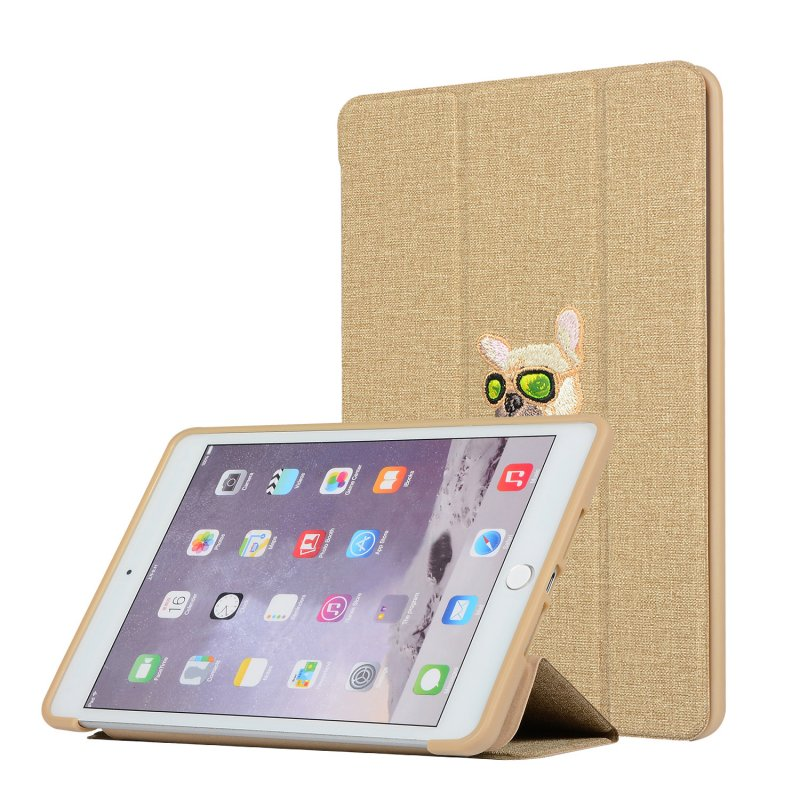 For iPAD Mini 12345/Pro/Air123 Tablet Cover 9.7-inch 10.5-inch Cover Embroidery Case Overal Protection Shell Anti-Fall Stand Function  gold_For iPAD Mini 12345