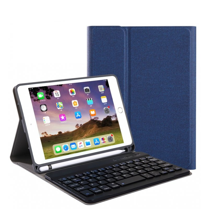 For iPad 10.2 Tablet Touch Keyboard Textured PU Leather Cover Wireless Bluetooth3.0 Connect Overall Protection Stand Function  blue_iPad 10.2 regular version