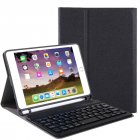 For iPad 10 2 Tablet Touch Keyboard Textured PU Leather Cover Wireless Bluetooth3 0 Connect Overall Protection Stand Function  black iPad 10 2 regular version