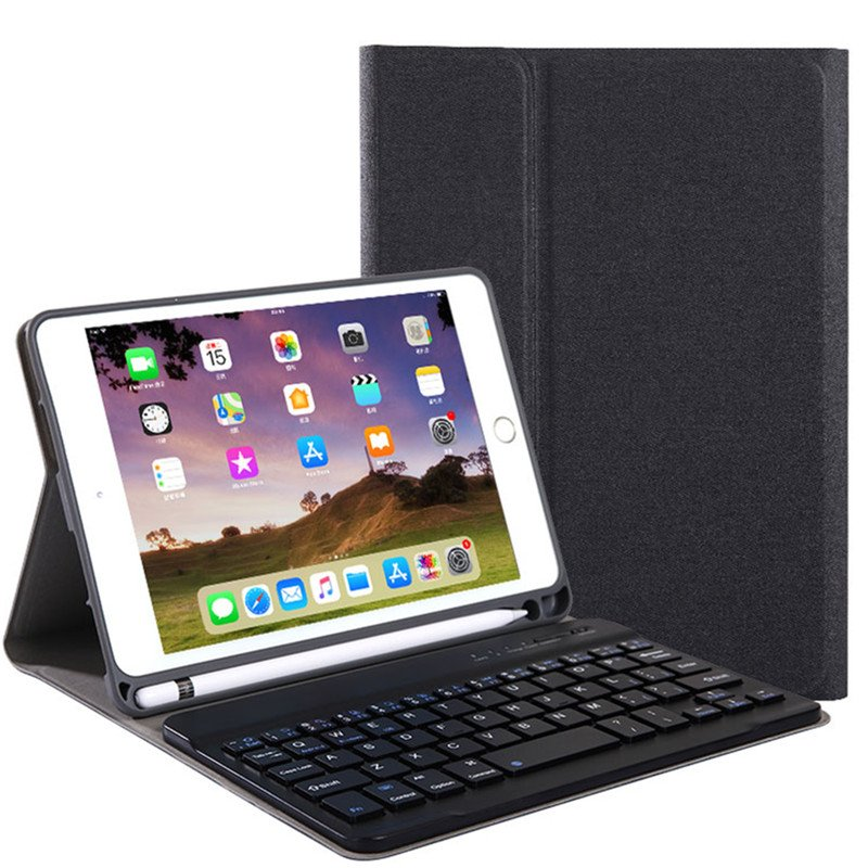 For iPad 10.2 Tablet Touch Keyboard Textured PU Leather Cover Wireless Bluetooth3.0 Connect Overall Protection Stand Function  black_iPad 10.2 regular version