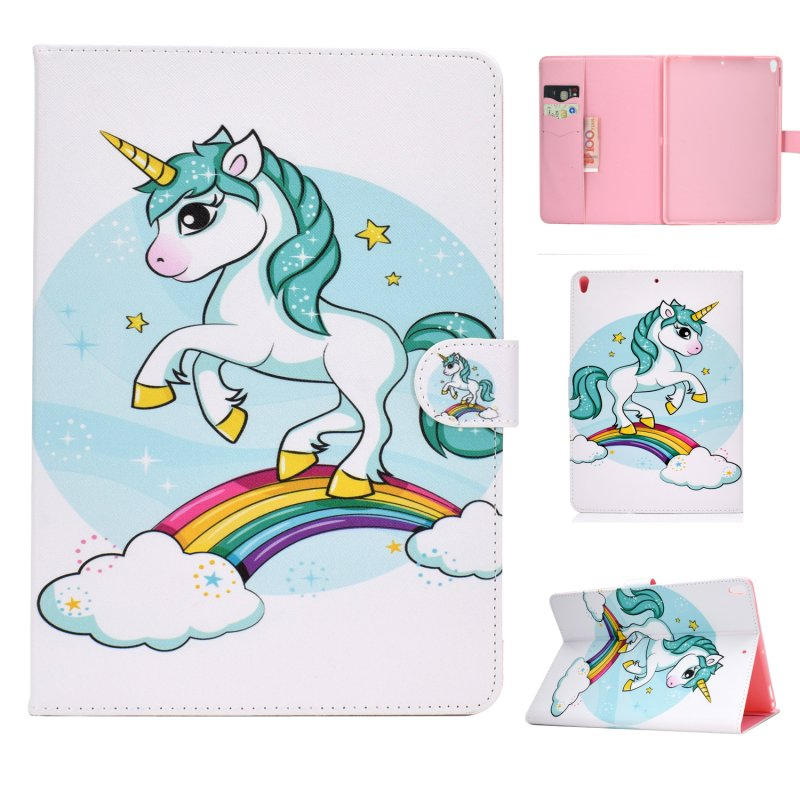 For iPad 10.5 2017/iPad 10.2 2019 Laptop Protective Case Color Painted Smart Stay PU Cover with Front Snap  single horned horse