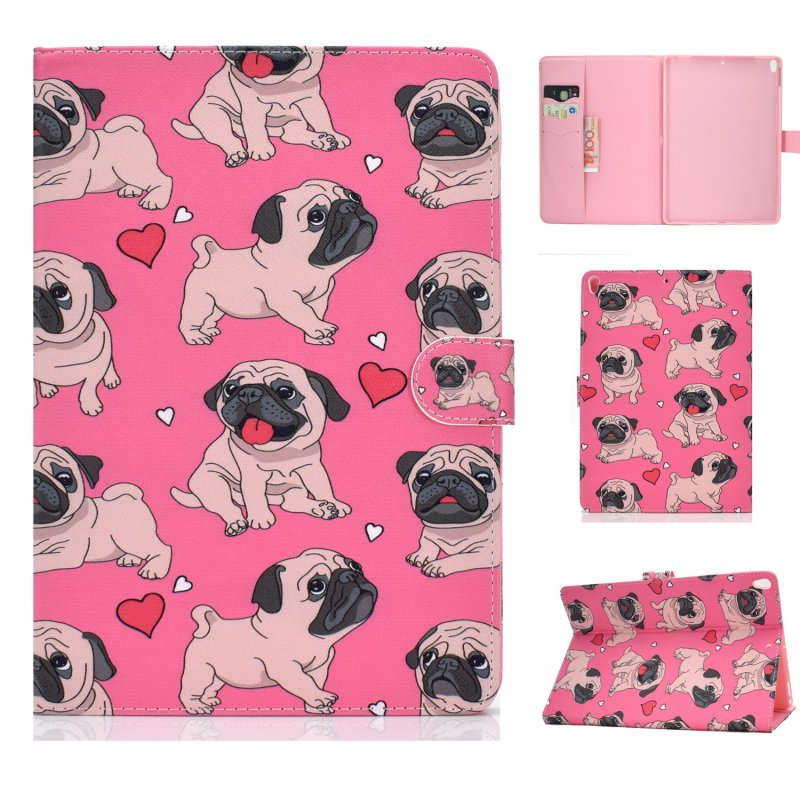 For iPad 10.5 2017/iPad 10.2 2019 Laptop Protective Case Color Painted Smart Stay PU Cover with Front Snap  Caring dog