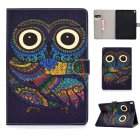 For iPad 10.5 2017/iPad 10.2 2019 Laptop Protective Case Color Painted Smart Stay PU Cover with Front Snap  owl