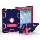 For iPad 2 3 4 PC  Silicone Hit Color Armor Case Tri proof Shockproof Dustproof Anti fall Protective Cover  Navy   Rose red