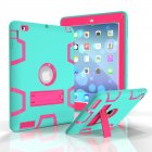 For iPad 2/3/4 PC+ Silicone Hit Color Armor Case Tri-proof Shockproof Dustproof Anti-fall Protective Cover  Mint green + rose red