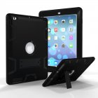 For iPad 2/3/4 PC+ Silicone Hit Color Armor Case Tri-proof Shockproof Dustproof Anti-fall Protective Cover  Black + black