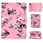 For iPad 5/6/7/8/9-iPad Pro9.7-iPad 9.7 Laptop Protective Case Color Painted Smart Stay PU Cover Pink flower