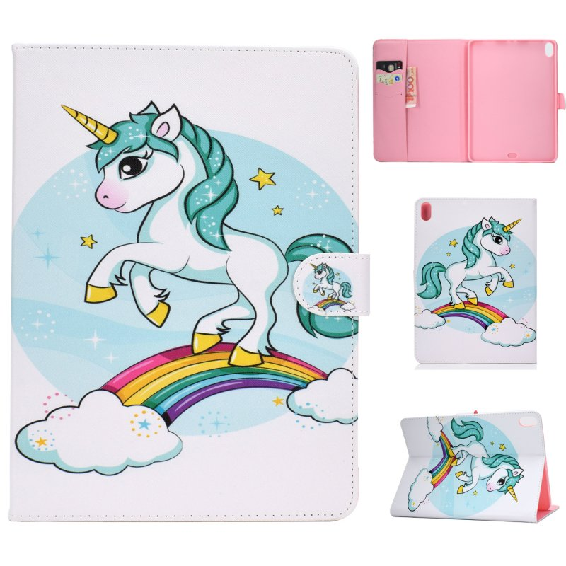 For iPad Pro 11 Laptop Protective Case Smart Stay Color Painted PU Cover with Front Snap unicorn