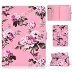 For iPad Pro 11 Laptop Protective Case Smart Stay Color Painted PU Cover with Front Snap Pink flower