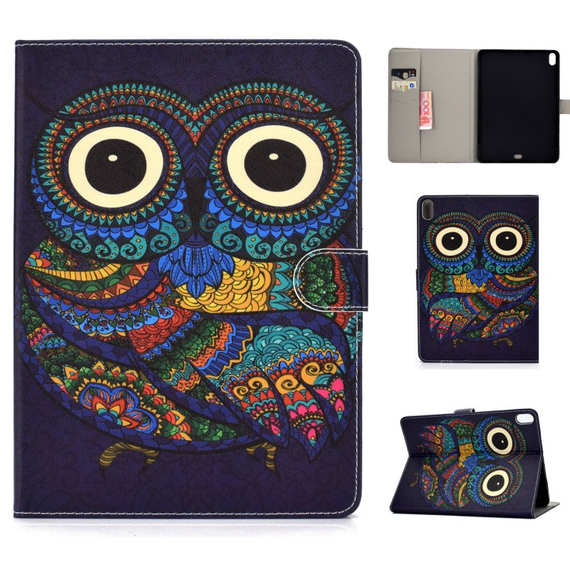 For iPad Pro 11 Laptop Protective Case Smart Stay Color Painted PU Cover with Front Snap owl