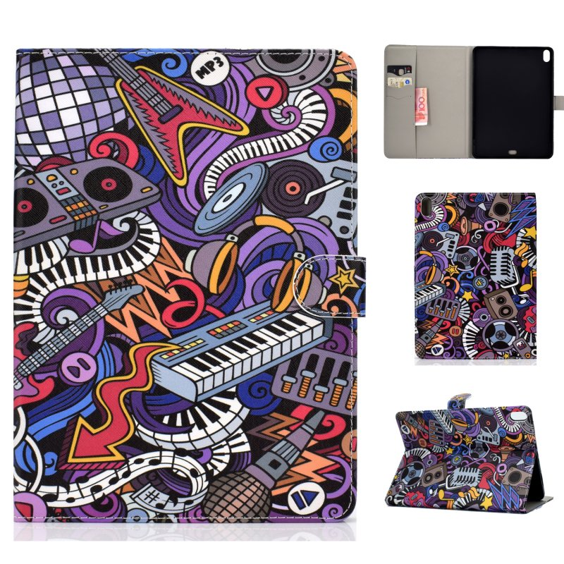 For iPad Pro 11 Laptop Protective Case Smart Stay Color Painted PU Cover with Front Snap Graffiti