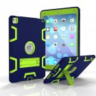 For iPad air2/iPad 6/iPad pro 9.7 2016 PC+ Silicone Hit Color Armor Case Tri-proof Shockproof Dustproof Anti-fall Protective Cover  Navy blue + yellow green