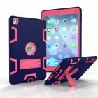 For iPad air2/iPad 6/iPad pro 9.7 2016 PC+ Silicone Hit Color Armor Case Tri-proof Shockproof Dustproof Anti-fall Protective Cover  Navy + Rose red