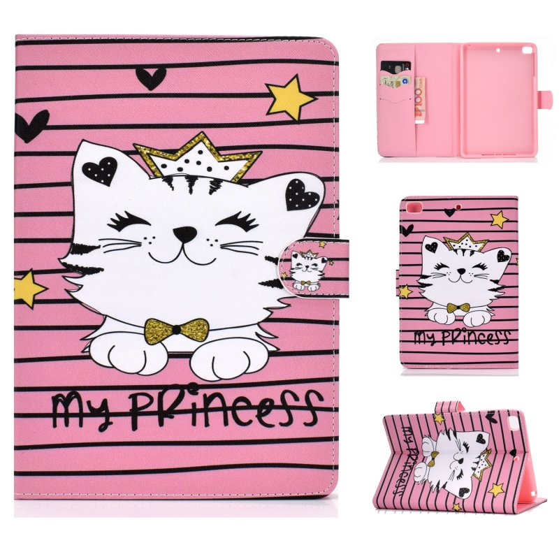 For iPad mini 1/2/3/4/5 Laptop Protective Case Frront Snap Color Painted Smart Stay PU Cover Crown cat