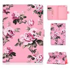 For iPad mini 1 2 3 4 5 Laptop Protective Case Frront Snap Color Painted Smart Stay PU Cover Pink flower