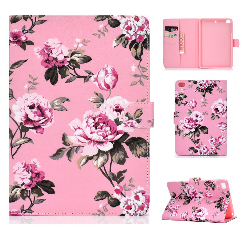 For iPad mini 1/2/3/4/5 Laptop Protective Case Frront Snap Color Painted Smart Stay PU Cover Pink flower