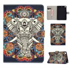 For iPad mini 1/2/3/4/5 Laptop Protective Case Frront Snap Color Painted Smart Stay PU Cover Fun elephant