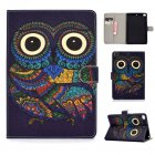 For iPad mini 1/2/3/4/5 Laptop Protective Case Frront Snap Color Painted Smart Stay PU Cover owl