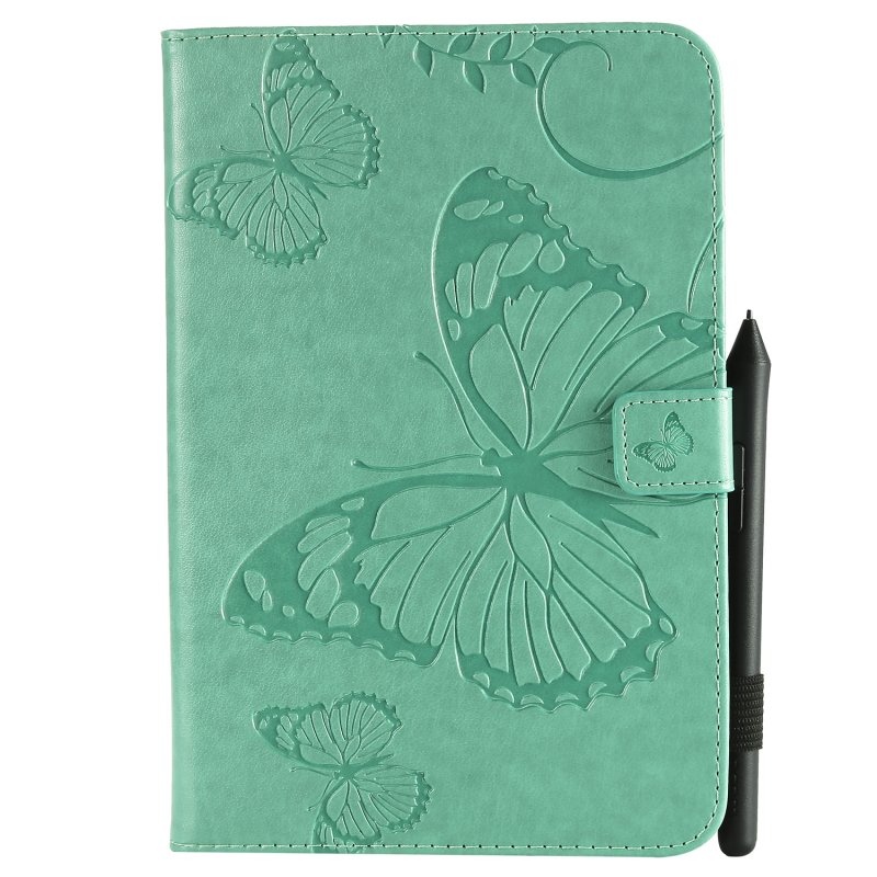 For iPad mini 1/2/3/4 Fashion Butterfly Embossed PU Leather Magnetic Closure Stand Case Auto Wake/Sleep Cover with Pen Slot green