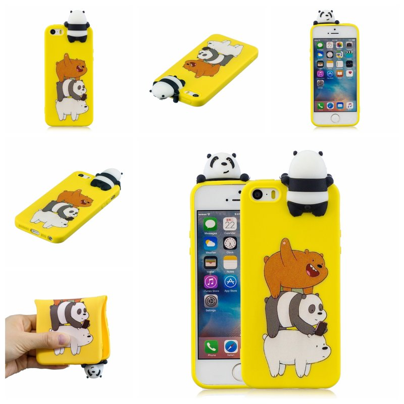 For iPhone 5/5S/SE 3D Cartoon Lovely Coloured Painted Soft TPU Back Cover Non-slip Shockproof Full Protective Case Striped bear