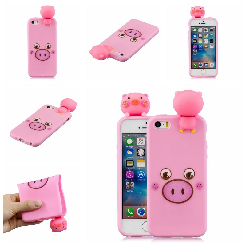 For iPhone 5/5S/SE 3D Cartoon Lovely Coloured Painted Soft TPU Back Cover Non-slip Shockproof Full Protective Case Small pink pig