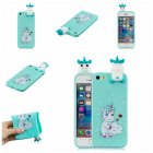 For iPhone 5/5S/SE 3D Cartoon Lovely Coloured Painted Soft TPU Back Cover Non-slip Shockproof Full Protective Case Love unicorn