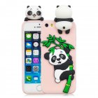 For iPhone 5/5S/SE/6/6S/6 Plus/6S Plus/7/8/7 Plus/8 Plus Phone Case 3D Cartoon Panda Bamboo Cellphone Back Shell Shockproof Smartphone Cover Pink