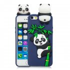 For iPhone 5 5S SE 6 6S 6 Plus 6S Plus 7 8 7 Plus 8 Plus Phone Case 3D Cartoon Panda Bamboo Cellphone Back Shell Shockproof Smartphone Cover Royal blue