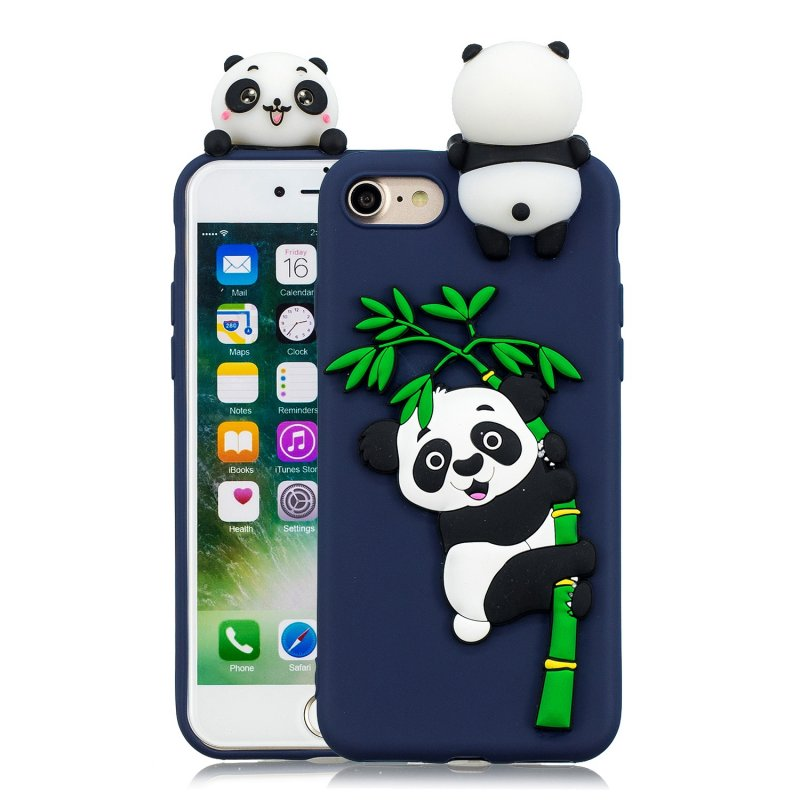 For iPhone 5/5S/SE/6/6S/6 Plus/6S Plus/7/8/7 Plus/8 Plus Phone Case 3D Cartoon Panda Bamboo Cellphone Back Shell Shockproof Smartphone Cover Royal blue