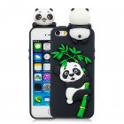 For iPhone 5/5S/SE/6/6S/6 Plus/6S Plus/7/8/7 Plus/8 Plus Phone Case 3D Cartoon Panda Bamboo Cellphone Back Shell Shockproof Smartphone Cover Black